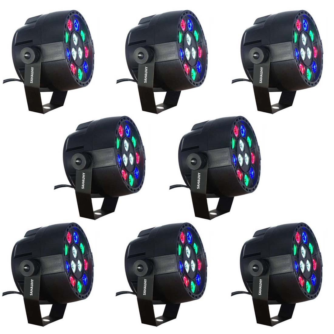 LED Stage Lights,SAHAUHY RGBW 12 Led Par Lights Sound Activated DMX Color Mixing Up Lighting (Black 8)