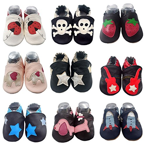 Picture of iEvolve Baby Girls Boys Shoes Baby Toddler Soft Sole Prewalker First Walker Crib Shoes Baby Moccasins …
