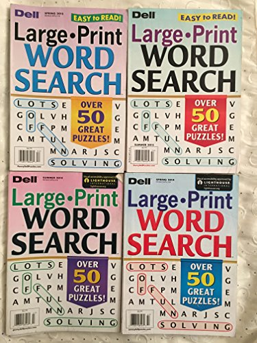 Price comparison product image Lot of 4 Dell LARGE PRINT Word Search Seek Puzzles Books Full Size Issues 2014 2015 Lot 3