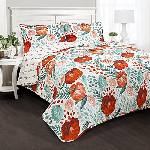 Poppies Quilt Fabric (Lush Decor Poppy Garden 3 Piece Quilt Set, Full/Queen, Multicolor)