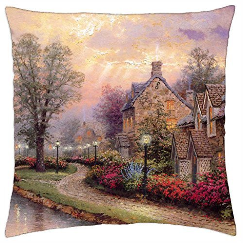 - Kobalter Thomas Kinkade - Lamplight Lane - Throw Pillow Cover Case (16