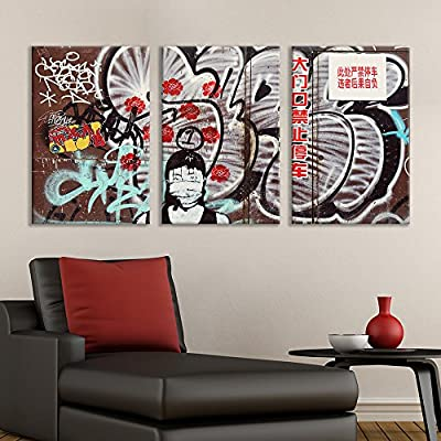 3 Panel Canvas Wall Art - Triptych Street Graffiti Series - Chinese Masked Girl - Giclee Print Gallery Wrap Modern Home Art Ready to Hang - 16