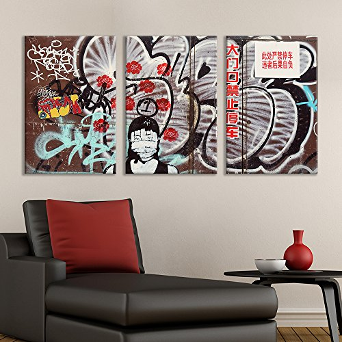 wall26 - 3 Panel Canvas Wall Art - Triptych Street Graffiti Series - Chinese Masked Girl - Giclee Print Gallery Wrap Modern Home Decor Ready to Hang - 16
