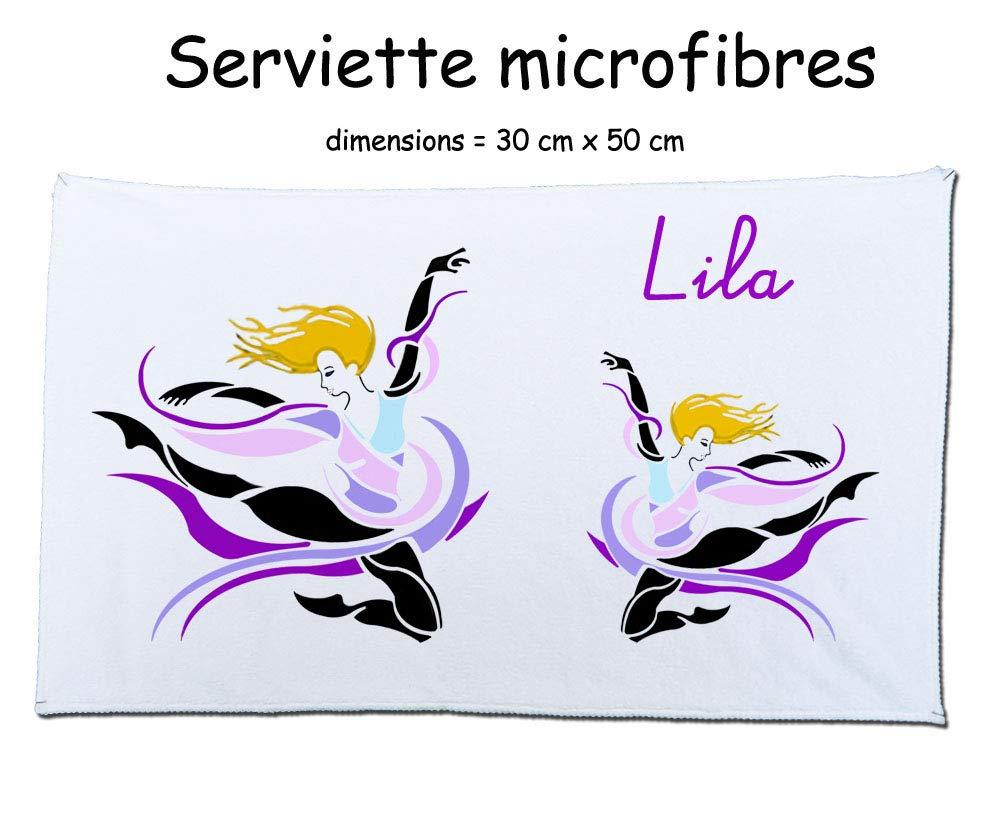 Texti-cadeaux-serviette microfibre (50 x 30 cm) Danseuse à personnaliser comme exemple Lila