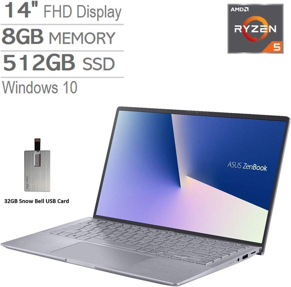 "2020 ASUS Zenbook 14"" FHD Ultra-Light&Thin Laptop Computer, AMD 4th Gen Ryzen 5-4500U, 8GB RAM, 512GB PCIe SSD, Backlit Keyboard, NVIDIA GeForce MX350, HD Webcam, Win 10, Gray, 32GB Snow Bell USB Card"