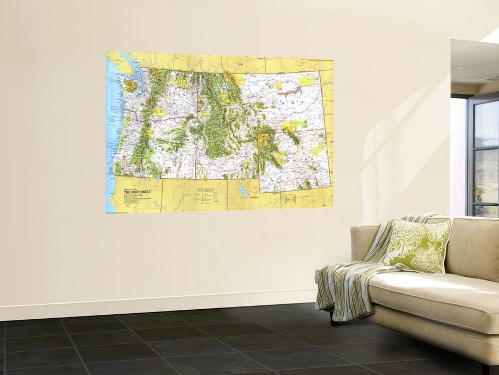 1973 Close-up USA, Northwest Map Wall Mural by National Geographic Maps 48 x 72in by NATIONAL GEOGRAPHIC MAPS POD