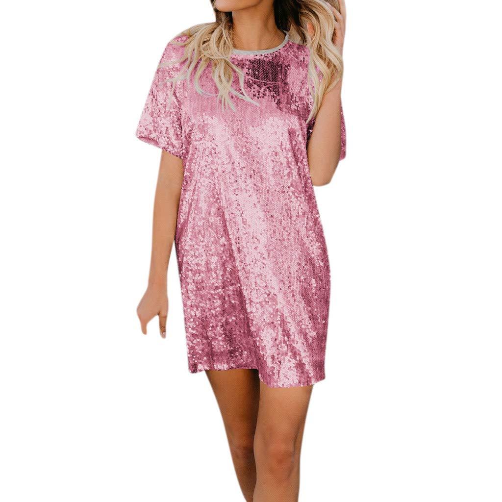 WYTong Women Ladies Casual Sequin Patchwork Mini Dress Short Sleeve Crew Neck Summer Dresses(Pink,L)
