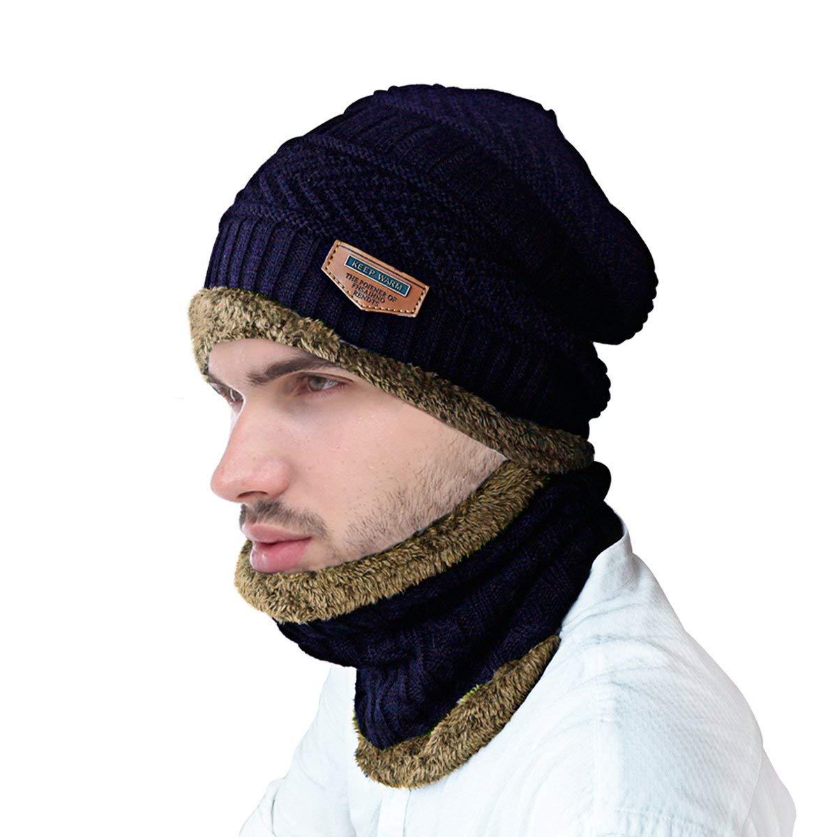 Conjunto de bufanda de gorro de invierno, JUSTIME Sombrero de ...
