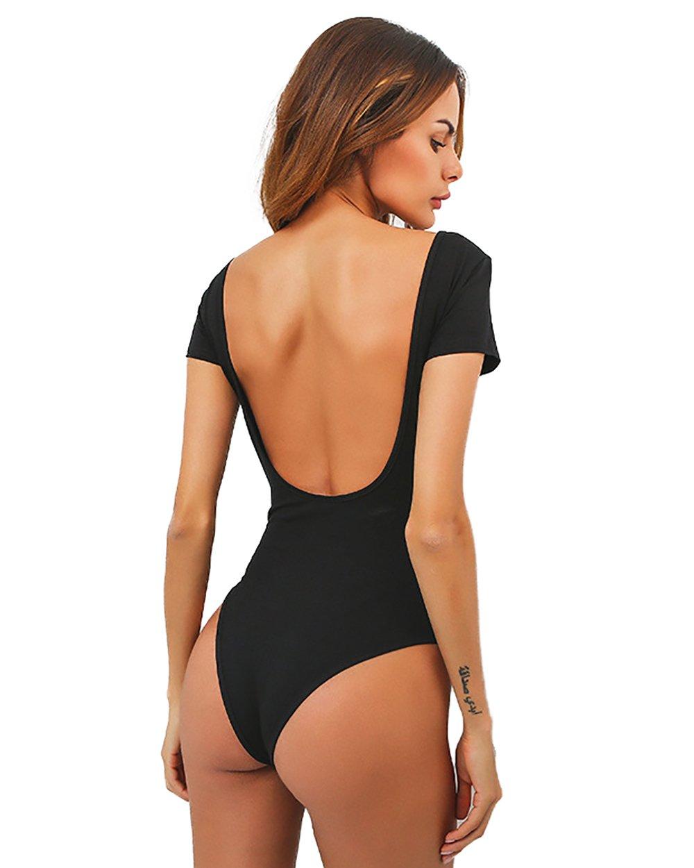 gagaopt Women Sexy Backless Thong Bodysuit One Piece Cotton Leotard Short Sleeve 61eeBM9zufL