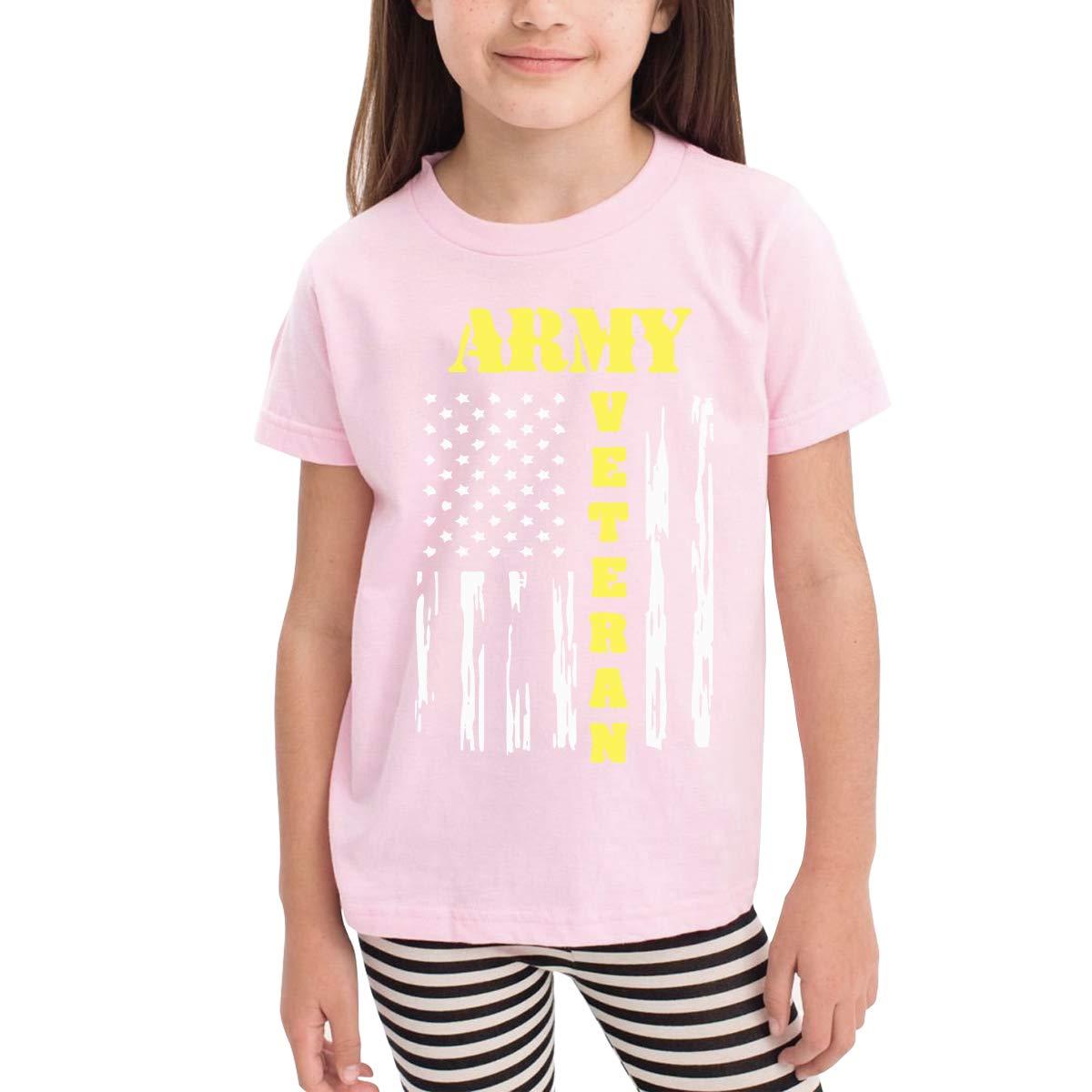 Kids T-Shirt Tops Black Army Veteran Unisex Youths Short Sleeve T-Shirt