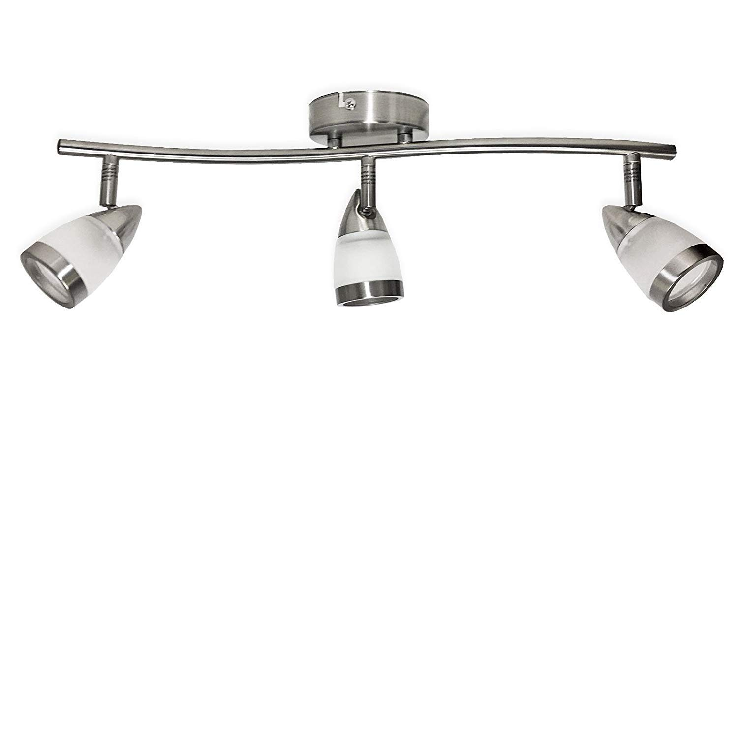 Powersave Modern Brushed Steel Triple Light Curved Bar Ceiling Satin Chrome Pull Cord Switch Amazoncouk Lighting Fitting Takes 3 X Gu10 Bulbs Led Compatible Kitchen Home
