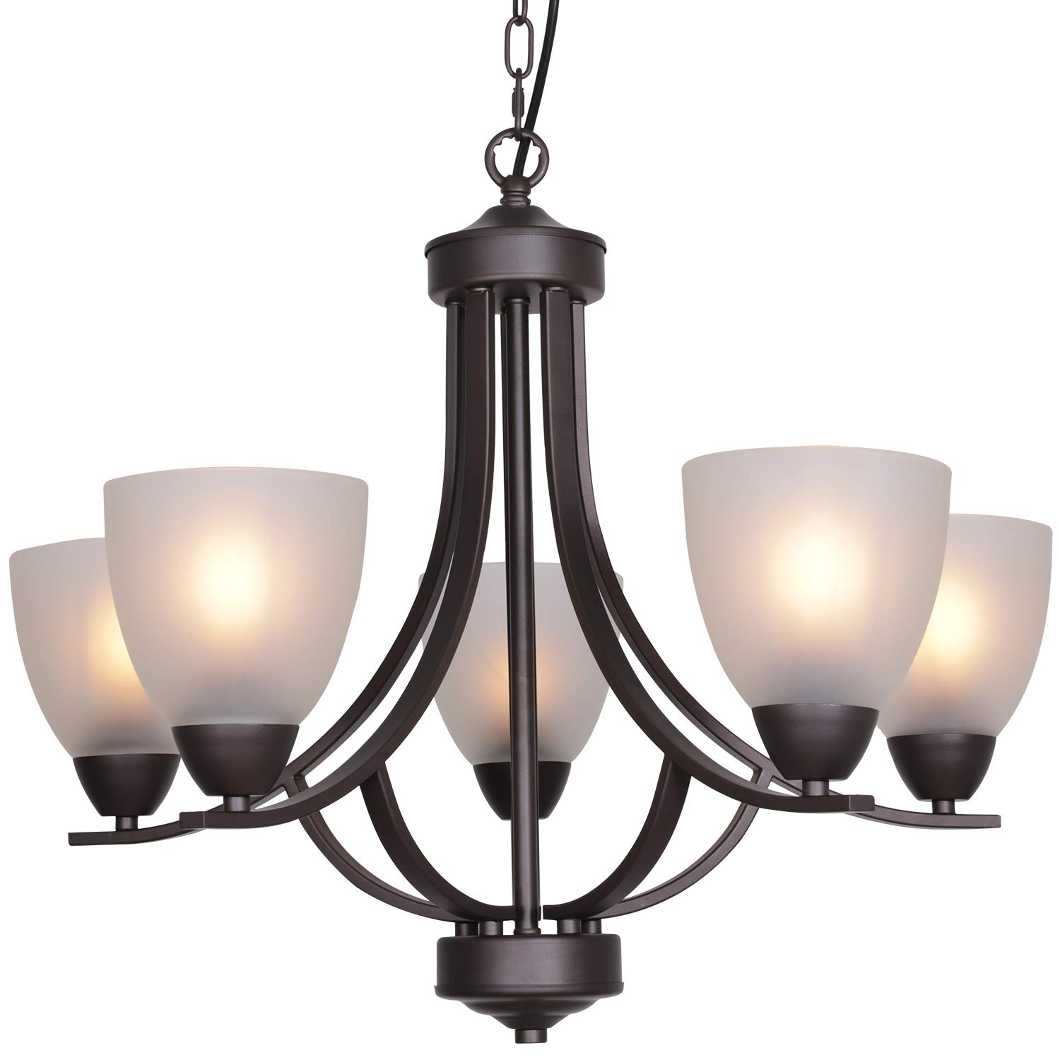 VINLUZ 5 Light Shaded Contemporary Chandeliers with Alabaster Glass Oil Rubbed Bronze Modern Light Fixtures Ceiling Hanging Rustic Pendant Lighting for Dining Room Foyer Bedroom Living Room