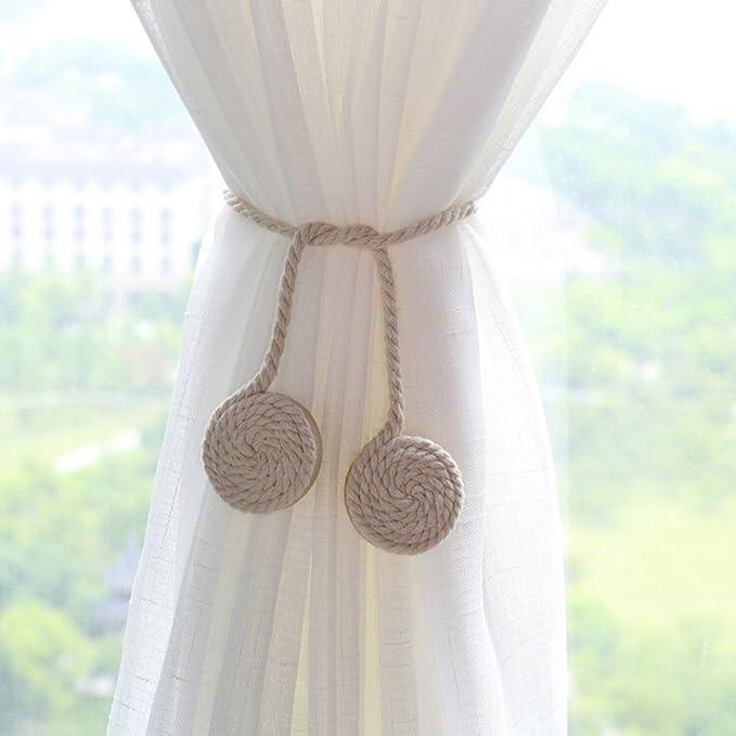 Image ofLianLe - 1 par de abrazaderas para cortina, cordón de algodón tejido y broche magnético, decoración para cortina