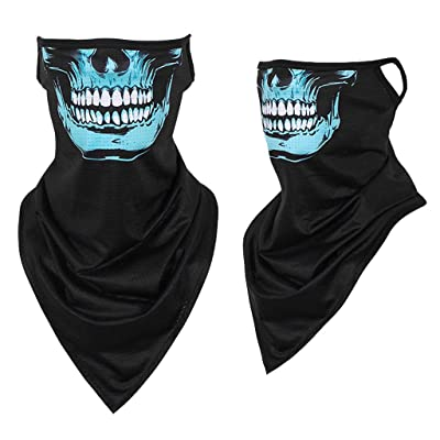 Seamless Balaclava Skull Print Scarf, Cnebo Outdoor Windproof Bandana Face Cover with Earloops, Neck Gaiter Magic Scarf Breathable Hiking Cycling: Clothing