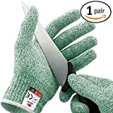 NoCry Cut Resistant Gloves - High Performance Level 5 Protection, Food Grade. Green, Size Medium