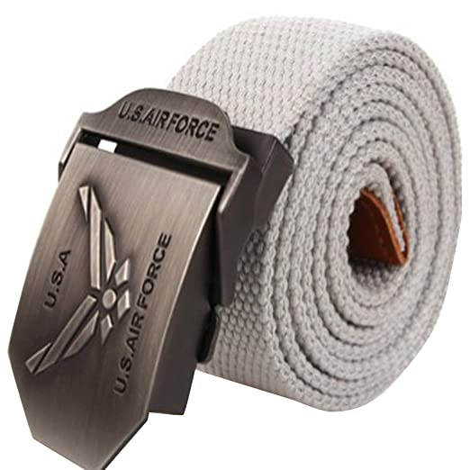 Syins Men s Adjustable Canvas Belt USA Air Force Metal Buckle Military  Style Grey 042f58bba73