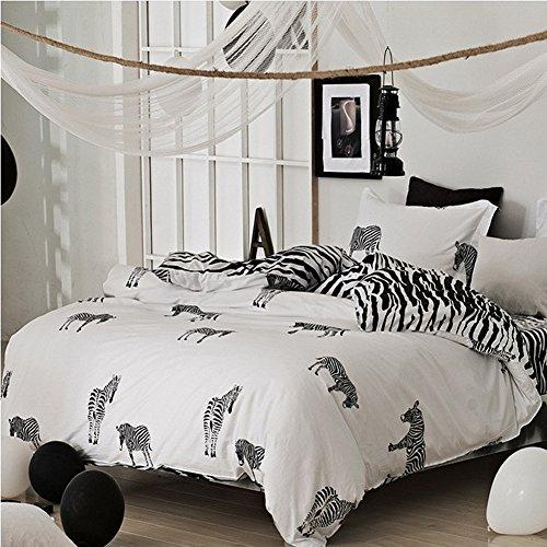 Ukeler Reversible Fashionable Simple Zebra Print Duvet Cover Set 4 Pieces, Full Size