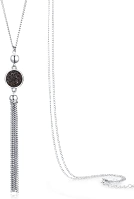 Kingray Jewelry Retro Vintage Long Sweater Dressy Charm Chain Tassel Necklace Cocktail Party Statement