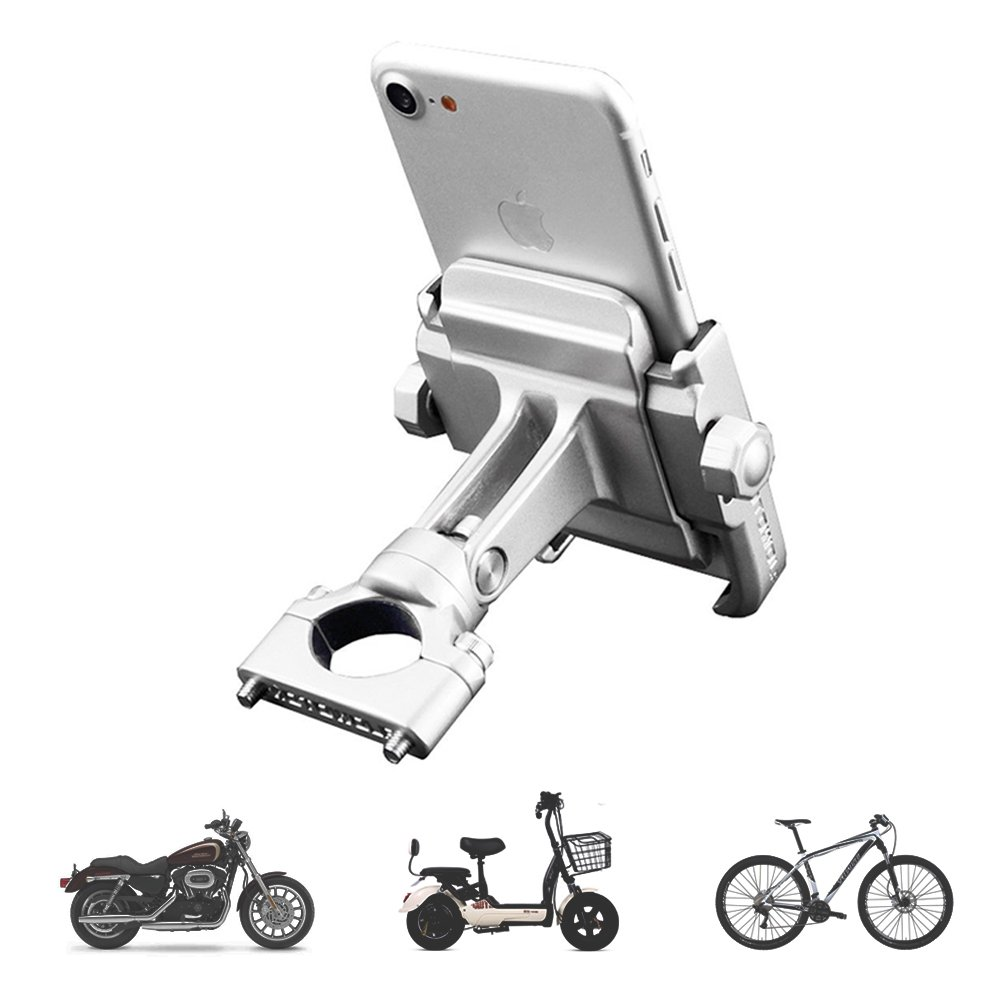 vicelecus Motorcycle Phone Mount, Adjustable Anti Shake Metal Bike Phone Holder for iPhone X/8/7/6 Plus Samsung Galaxy S9/S8/S7/S6 GPS, Holds Devices up to 3.7'' Width (Silver) by vicelecus