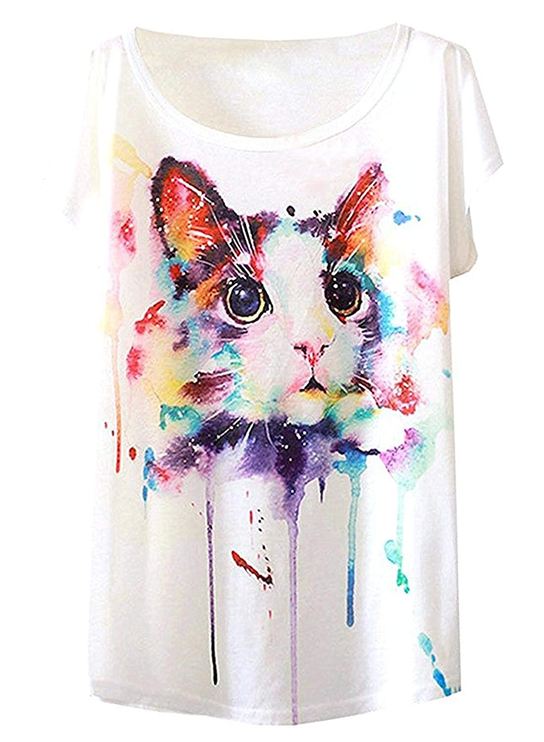 1f084782 Doballa Women's Graphic Cute Cup Cat Abstract Paint Splatter Print Round  Neck Tee Short Sleeve T Shirt Tops at Amazon Women's Clothing store: