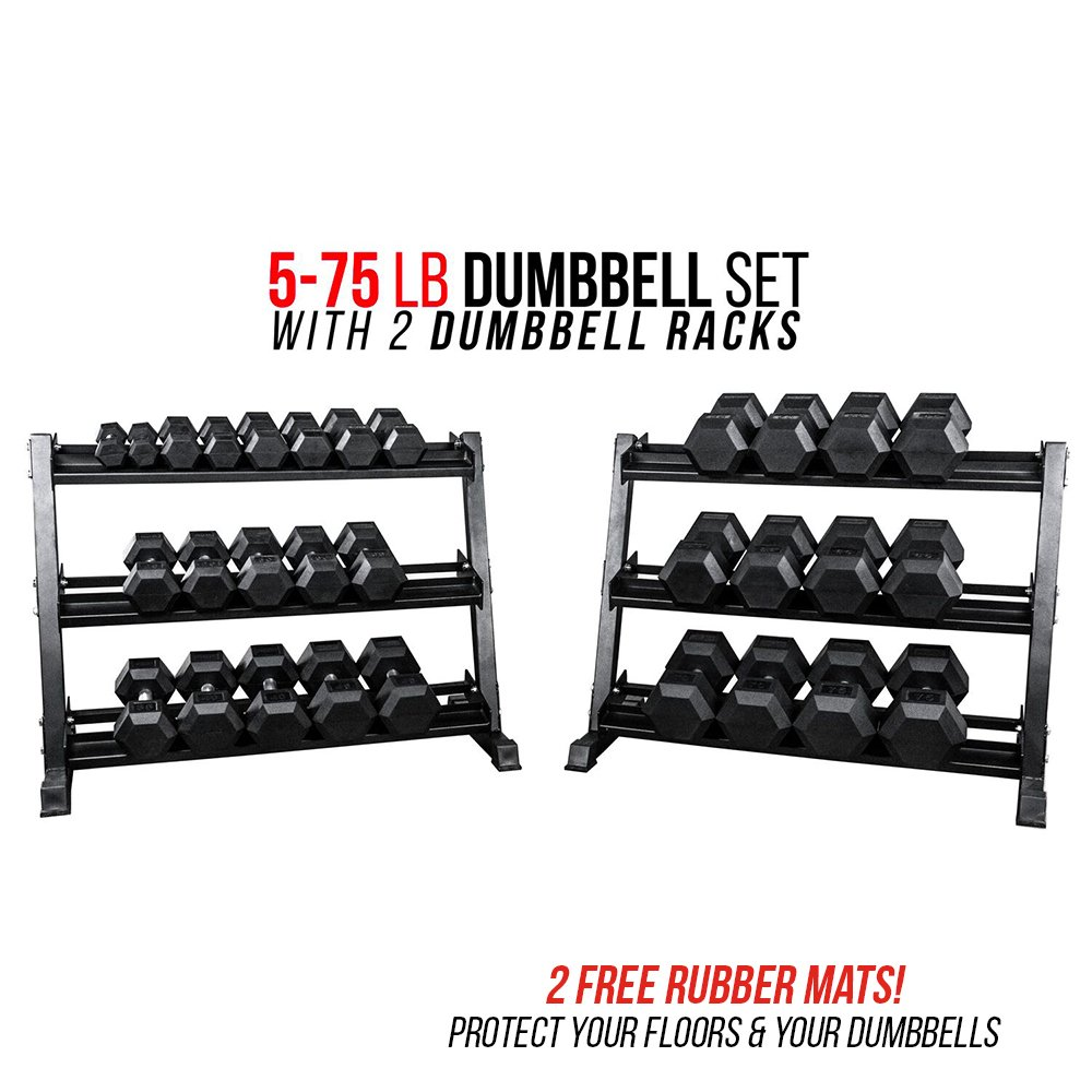 Rep 5-75 lb Rubber Hex Dumbbell Set with 2 Racks and 2 Free Rubber Mats