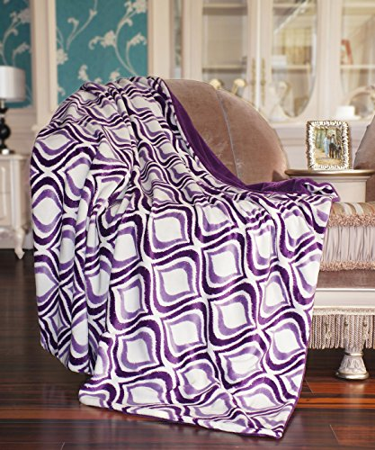 BNF Home Printed Mystic Throw with Solid Flannel Back, Purple