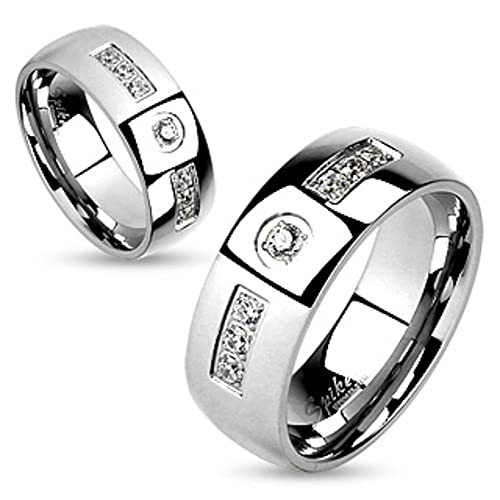 2b31ac8b49 Amazon.com: Stainless Steel Comfort Fit Cubic Zirconia Couples Ring Wedding  Band Width 6mm Size 05: Jewelry