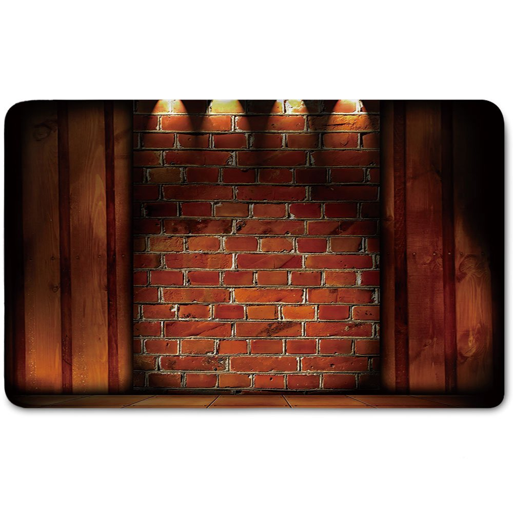 Memory Foam Bath Mat,Modern Decor,Wall Semidarkness Brickwork Indoors Concept Shady Empty Country HomePlush Wanderlust Bathroom Decor Mat Rug Carpet with Anti-Slip Backing,Orange Dark Orange