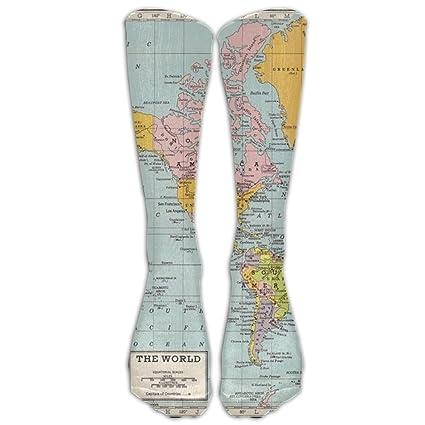Amazon.com: Sjmuch5 World Map   VintageKnee High Athletic Socks