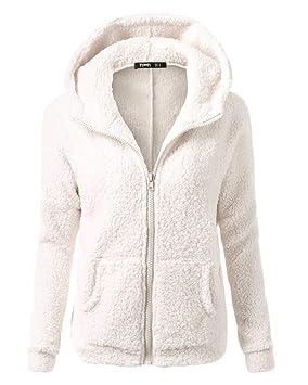Yonglan Mujer Sudadera con Capucha Lana De Imitación Cálida Chaqueta con Cremallera Abrigo Blanco XL: Amazon.es: Deportes y aire libre