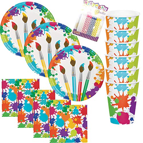 Art Party Theme Supplies Pack Bundle (Serves-16) Plates Napkins Cups - Paint Splatter Party Supply Tableware includes Birthday Candles (Bundle for 16)