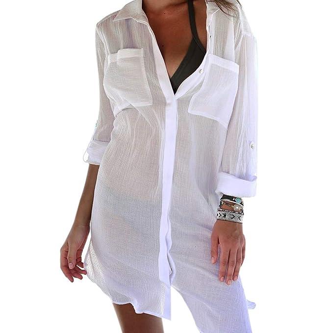 Women Bikini Cover Up Hollow Crochet Swimsuit Beach Tunic Long Shirt Solid Buy One Give One Blouses & Shirts