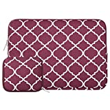 MOSISO Laptop Sleeve Bag Only Compatible MacBook 12-Inch with Retina Display 2017/2016/2015 Release with Small Case, Quatrefoil Style Canvas Fabric Protective Carrying Cover, Wine Red