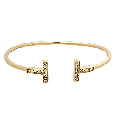 04fa9fae5 925 Sterling Silver T Cuff Bracelet,Boho Minimal Double T Cuff 14K Gold  Plated,