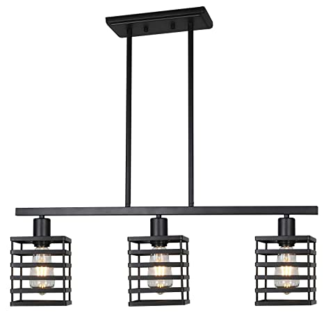 official photos 2949e a3205 Linear Island Pendant Lighting 3 Lights Black Kitchen Light fixtures  Vintage Shaded Farmhouse Chandeliers Modern Ceiling Lights Rustic Dining  Room ...