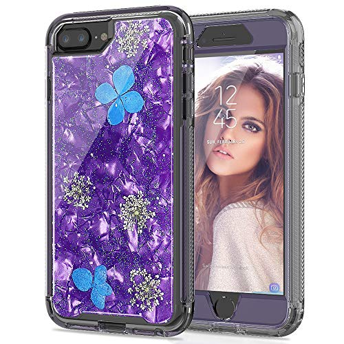Iphone Stock - SEYMAC Stock iPhone 8 Plus/ 7 Plus/ 6 Plus Girls/Women Case, [Hybrid Drop Protection] Case with Shockproof Translucent Flexible Bumper & [Real Flower] for iPhone 6 Plus/6s Plus/7 Plus/8 Plus - Purple