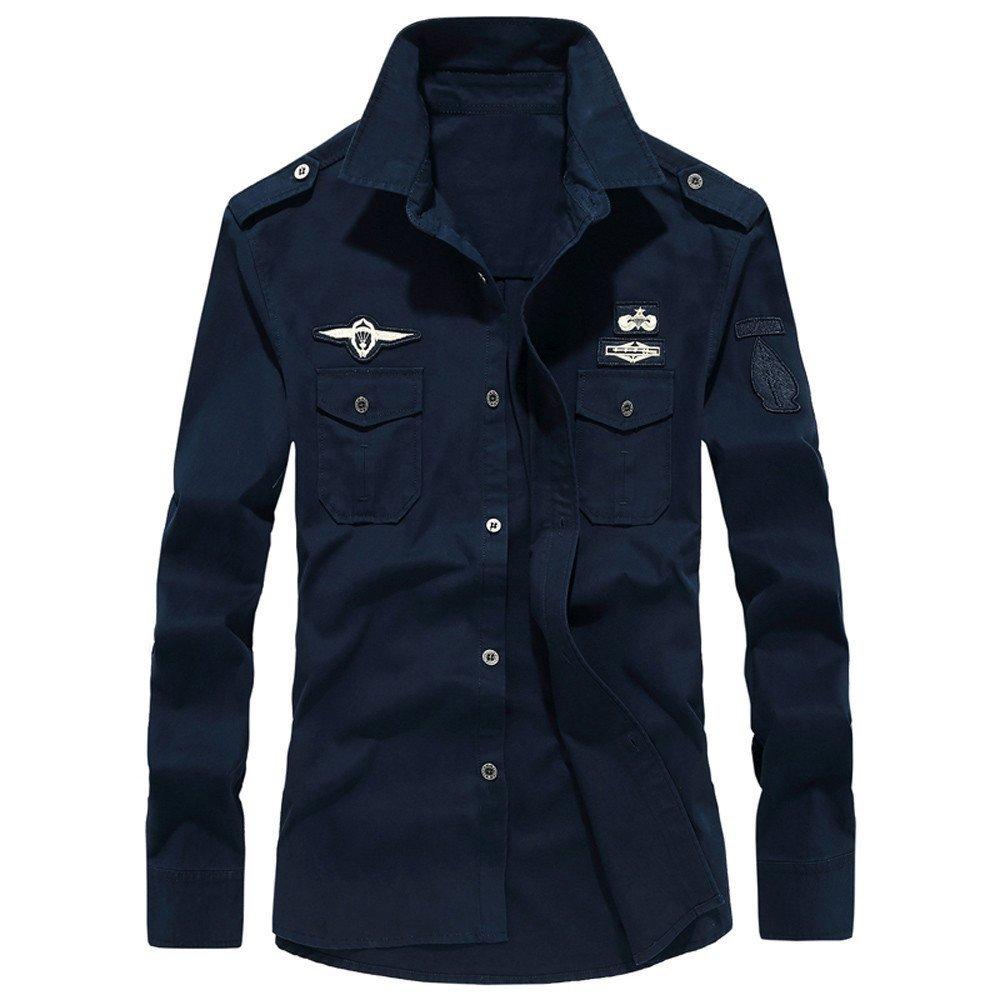 Clearance Sale!! Men's Shirts - Farjing Mens Autumn Casual Military Cargo Slim Button Long Sleeve Shirt Top Blouse(XL,Navy)