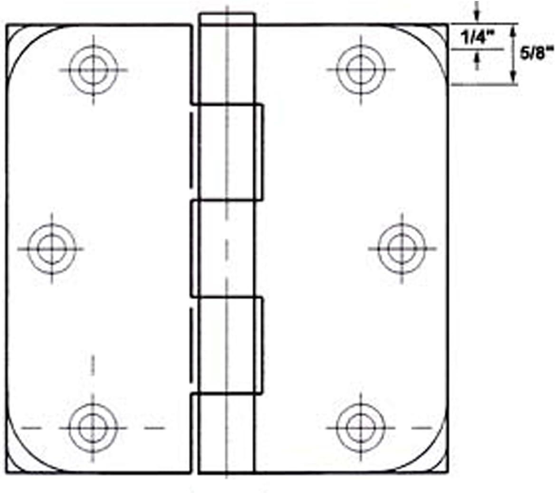 12 GlideRite Hardware 3-1//2 Steel Door Hinges Square Corners Satin Nickel Finish 3500-SN