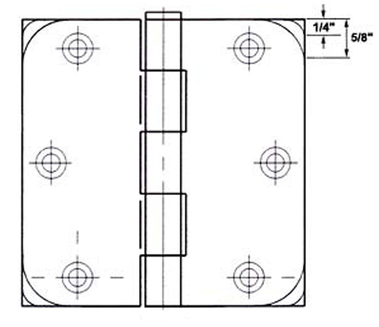 GlideRite Hardware 4 Steel Door Hinges 5//8 Radius and Square Corners Oil Rubbed Bronze Finish 4000-SQ-58-ORB Pack of 12