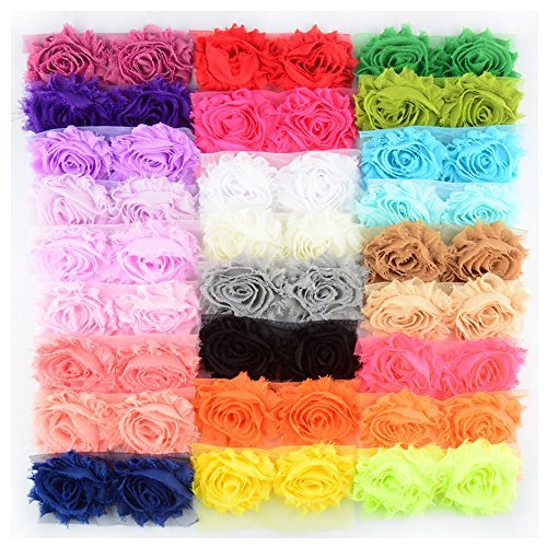 BERON 26 Pair 52pcs 2.5 Inch Chiffon Fabric Rose Flower Shabby Flowers Headband Flower, AIHB001 ...
