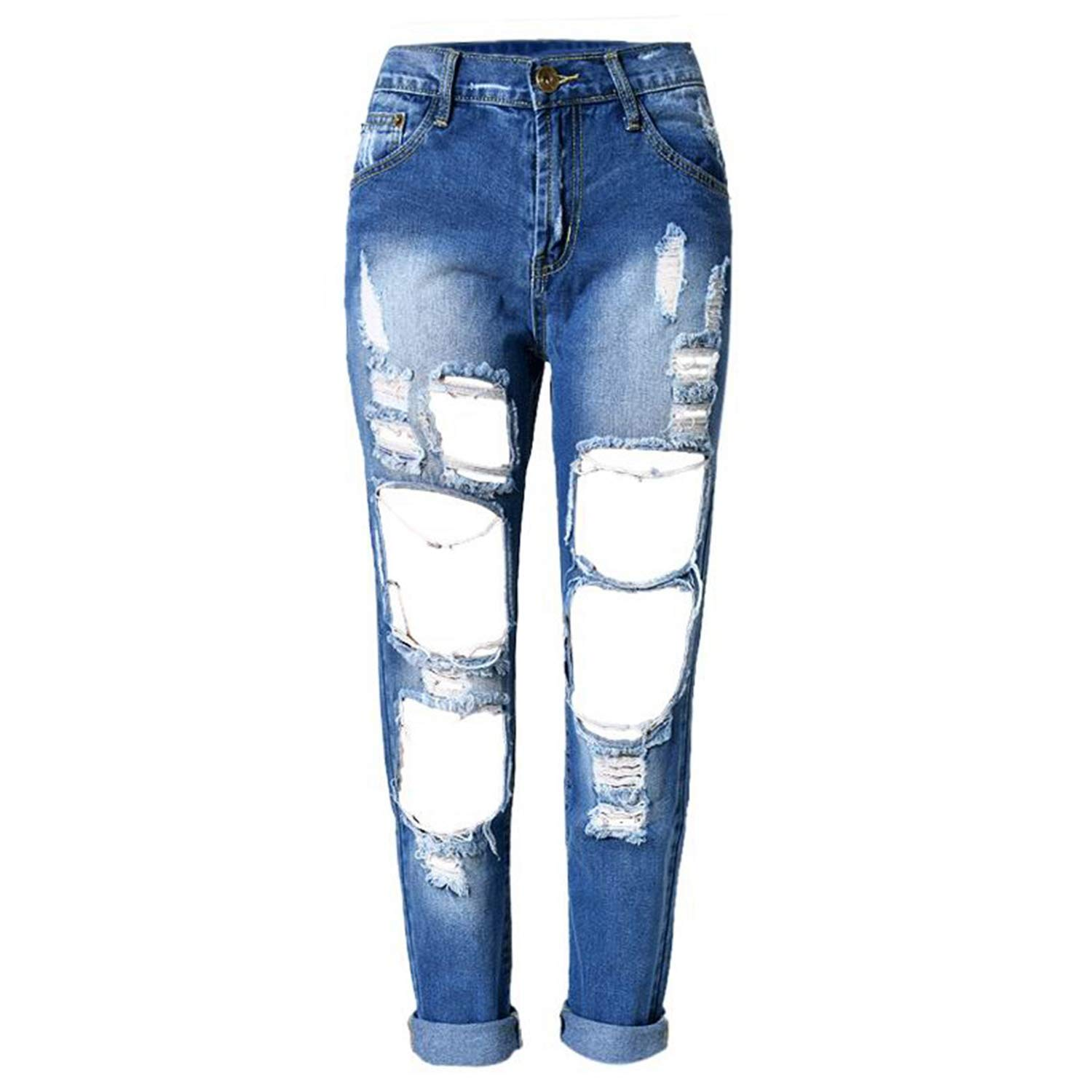 Bleached bluee Fashion Ripped Jeans Casual Washed Holes Boyfriend Jeans for Women Regular Long Torn Jeans Denim Pants