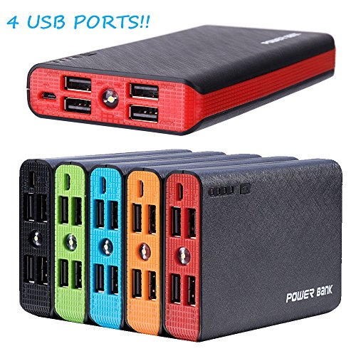 50000mAh 4 USB External Power Bank Portable LCD LED Charger for Cell Phone US (Red)