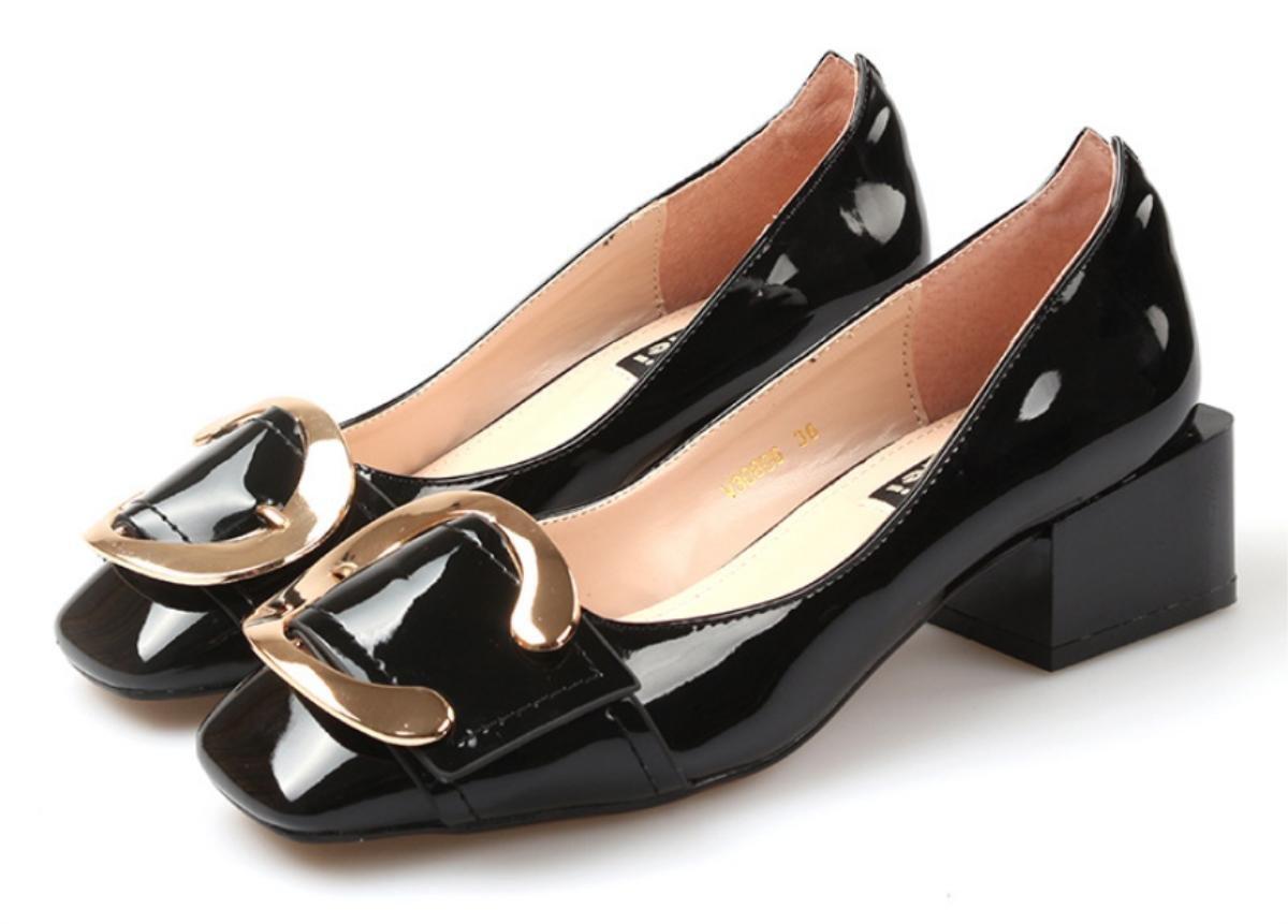 Zapatos de Tacón Mujer Hebilla En el lado con el lado transpirable cómodo zapatos de cabeza cuadrada , 1 , 39 39