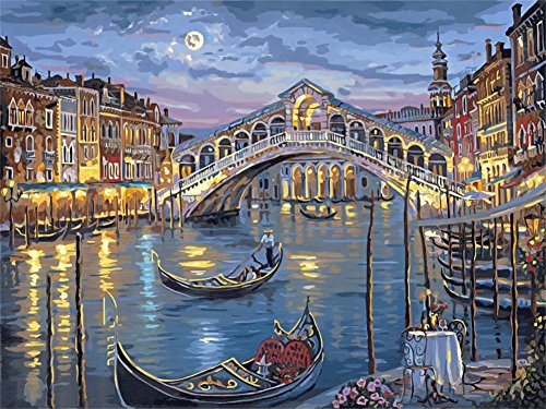 Adult Paint by Number Kits, Komking DIY Paintworks Paint by Number on Canvas Painting, Romantic Bridge of Water City 16x20inch