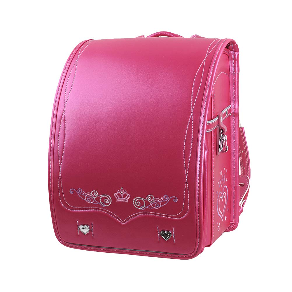 pink Red Style A1 SK Studio Kid School Bag Lightweight PU Leather School Backpack Japanese Style