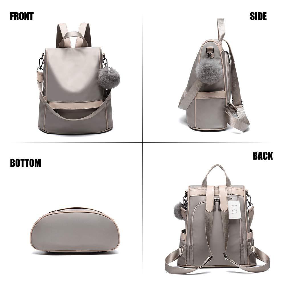 Women Backpack Purse Nylon Anti-theft Fashion Casual Lightweight Travel School Shoulder Bag (Khaki) by Cheruty (Image #2)