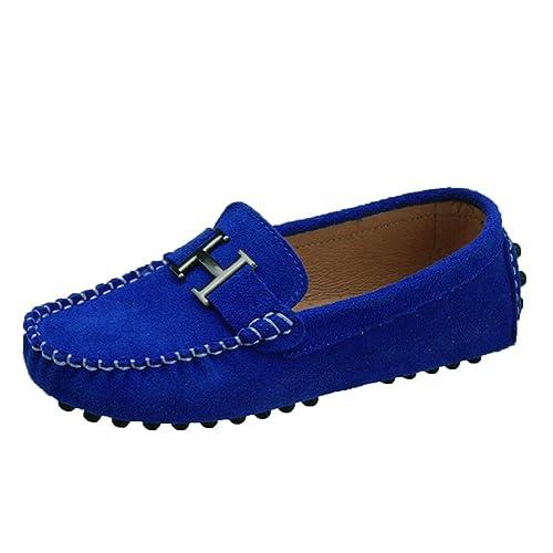 WOWEI Mocasines Cuero Suave Gamuza Casuales Penny Slip On Loafers Zapatos de Guisantes Barco Conducción Zapatillas para Niña Niño: Amazon.es: Zapatos y ...