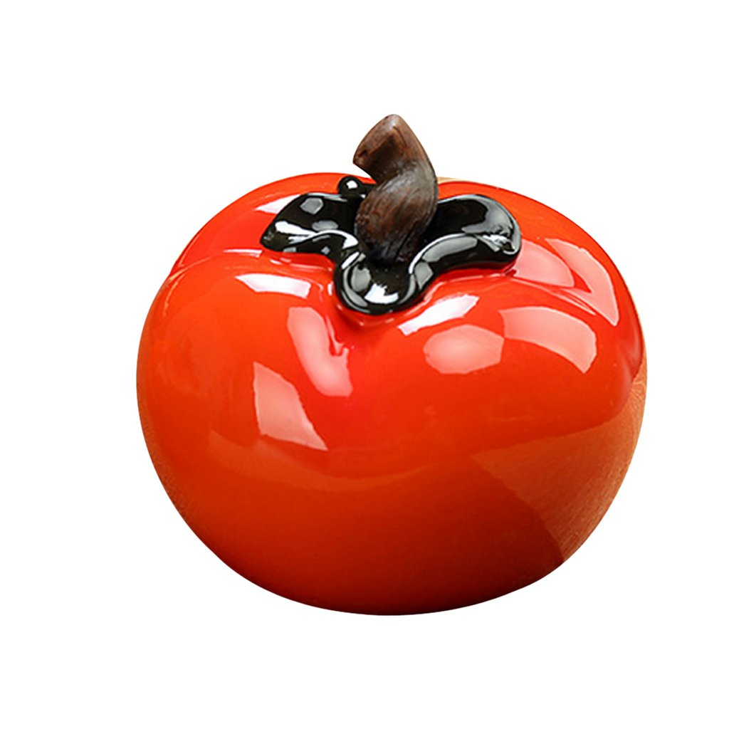 Fenteer Lifelike Artificial Persimmon Faux Fruit Home Hotel Kitchen Cabinet Decor Big and Small - Red, L