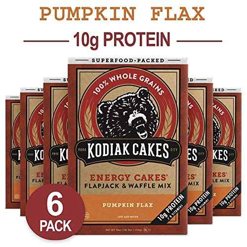Kodiak Cakes Energy Cakes, Superfood, Non GMO Protein Pancake, Flapjack and Waffle Mix, Pumpkin Flax, 18 Ounce (Pack of 6)