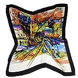 ETSYG 32'' Silk Scarf Women's Oil Painting House Pattern Large Square Satin Headscarf Headdress